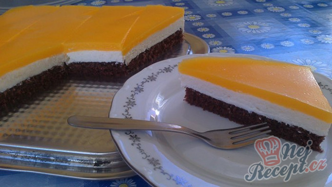 Recept Tvarohový koláč s pomerančovou želatinou
