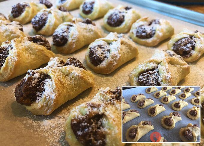 Recept Bombastické ořechové koláčky. Ideální těsto ze zakysané smetany, které je vhodné i na vánoční pečení.