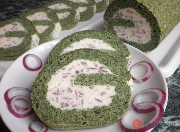 Recept Špenátová roláda s krémem z taveného sýra