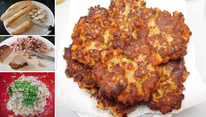 Recept Rohlíkové placičky s uzeným a hermelínem