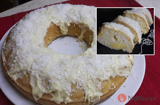 Recept RAFFAELLO bábovka se senzačním vanilkovým krémem a polevou z bílé čokolády