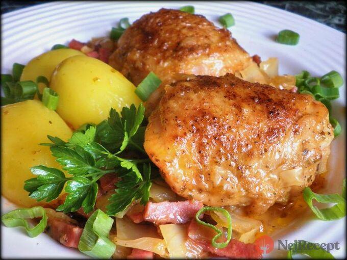 Recept Staročeské kuře na zelí a pivním salámu
