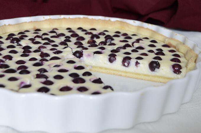 Recept Nejjednodušší tvarohový koláč s borůvkami