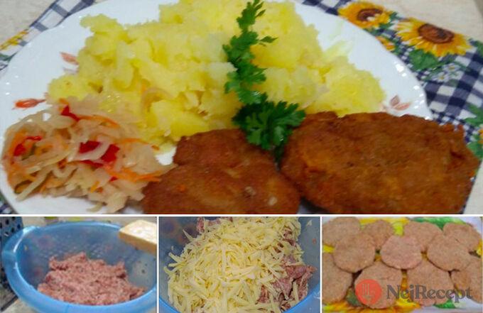 Recept Mleté řízky se sýrem a s bramborovou kaší