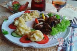 Příprava receptu Opilé krůtí játra s bramborovými pusinkami, krok 14