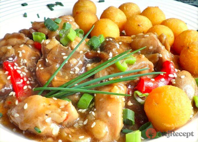 Recept Kuřecí směs s houbami a smažené bramborové krokety