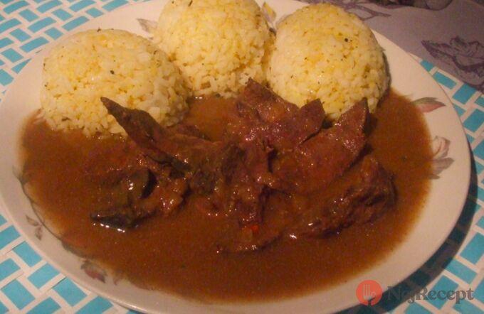Recept Dušená vepřová játra s rýží