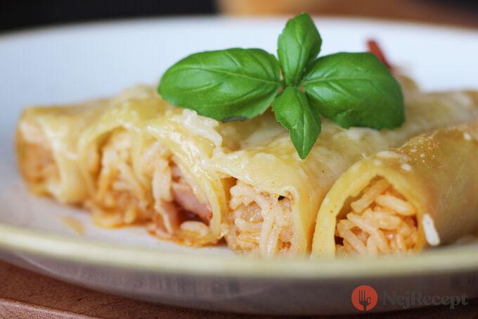 Recept Plněné cannelloni s rýží, parmezánem a šunkou
