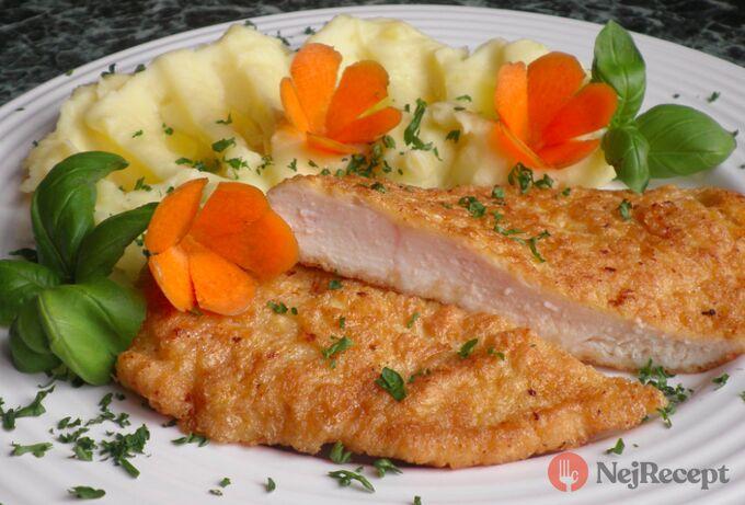 Recept Obrácený kuŕecí řízek s bramborovou kaší