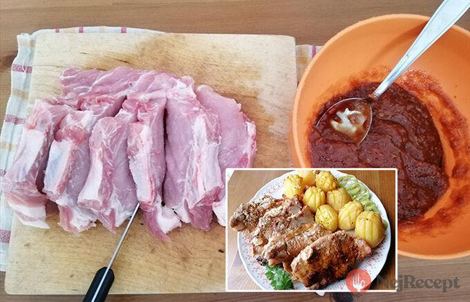 Recept Nejchutnější maso s bramborami pečené vcelku - tajemství se skrývá v marinádě.