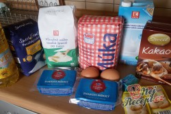 Příprava receptu Kakaový kynutý koláč s tvarohem - falešná prošívaná deka, krok 1