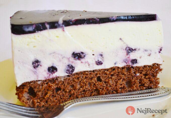 Recept Jogurtový dort z černého rybízu s malovaným želé