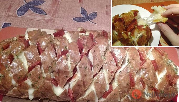 Recept Mřížkovaný chléb plněný sýrem a salámem