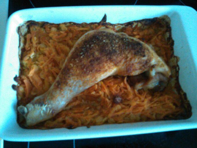 Recept Kuře s červenou čočkou a mrkví
