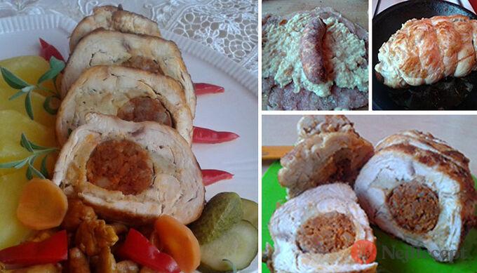 Recept Krůtí roláda s klobásou (neuzená klobása)