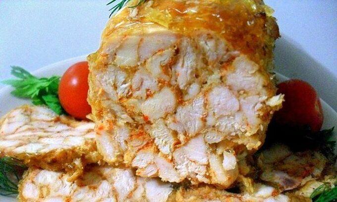 Recept Mramorová kuřecí roláda (šunka) s chutí česneku