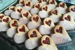 Příprava receptu Růžové linecké vánoční cukroví z pudinkového prášku, krok 9