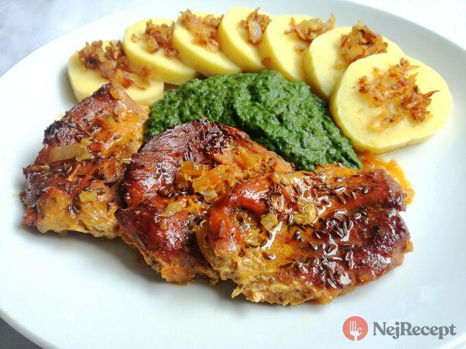Recept Vepřová pečeně s br. knedlíčkem a špenátkem