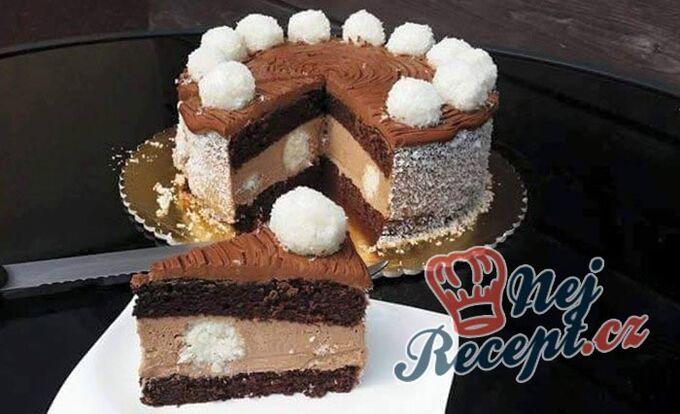 Recept Nugátový dort s kokosovými kuličkami