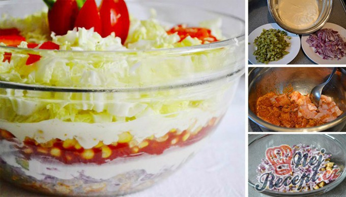 Recept Vrstvený salát Gyros