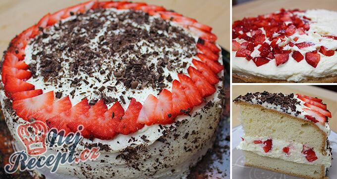 Recept Neodolatelný dortík s vanilkovým krémem a jahodami