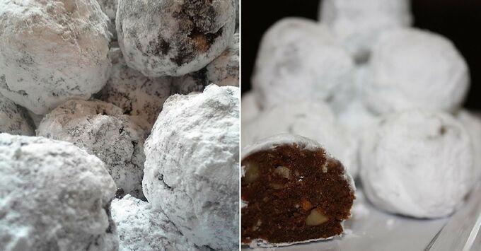 Recept Vánoční nepečené sněhové koule s rumem a oříšky
