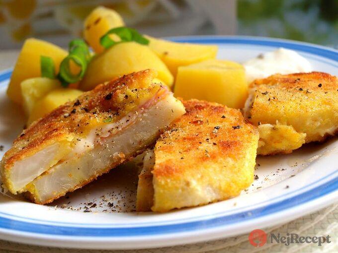 Recept Smažený celer se sýrem a šunkou