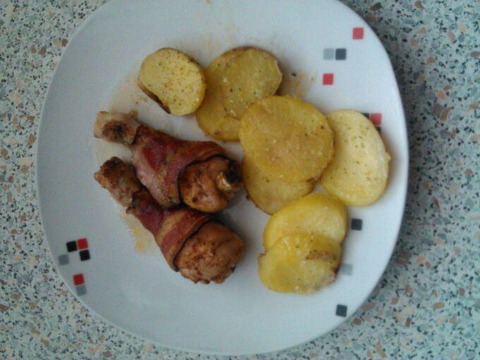 Recept Kuřecí paličky se slaninou