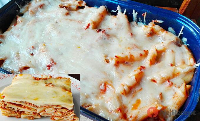 Recept Zapečené těstoviny v rajčatové omáčce s houbami a sýrem