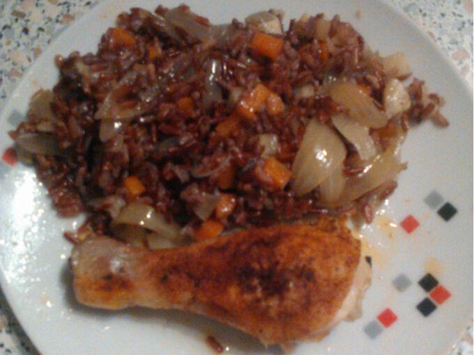 Recept Kuřecí stehno se zeleninovou rýží