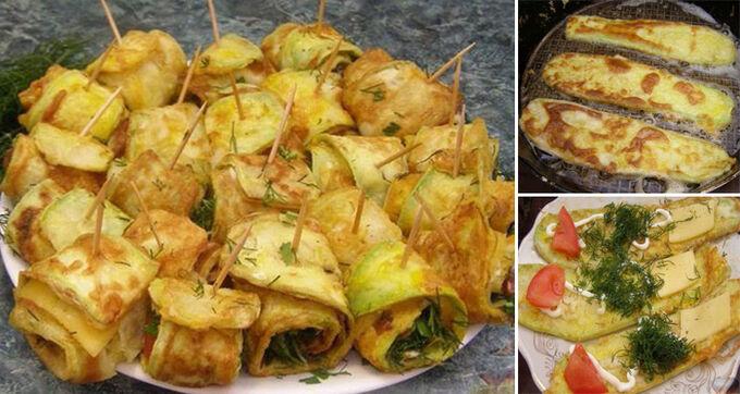 Recept Smažené cukety plněné rajčetem, koprem a sýrem