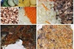 Příprava receptu Bramborová hnízda s houbami a česnekem ve smetanové omáčce, krok 2