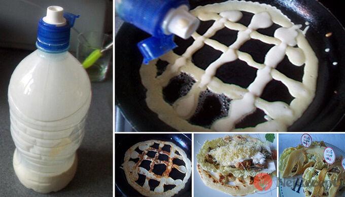 Recept Plněné mascrame palačinky - pečeme za pomoci lahve
