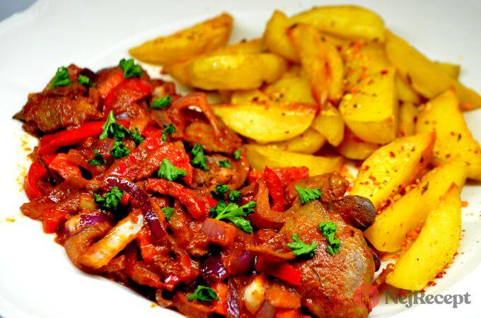 Recept Minutková kuřecí játra s cibulí a paprikou