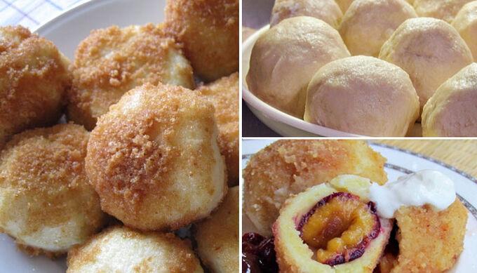 Recept Speciální bramborové knedlíky se švestkami, tvarohem a skořicí