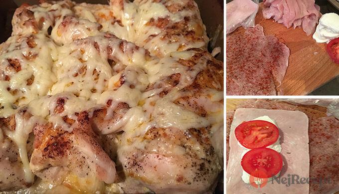 Recept Kuřecí rolky se šunkou, mozzarellou a rajčetem