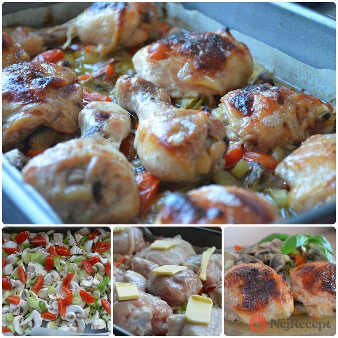 Recept Kuře v medové marinádě pečené na zelenině