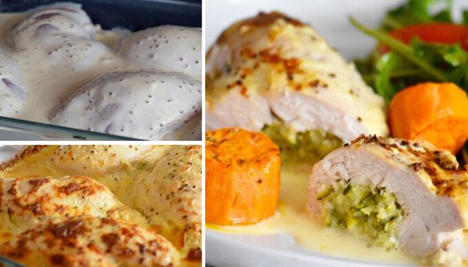 Recept Plněná kuřecí kapsa zapečená ve smetaně