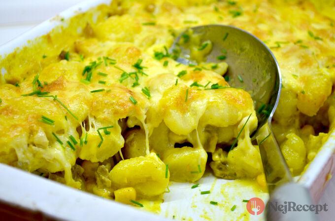 Recept Zapečené těstoviny (gnocchi) s kuřecím masem a hlívou ústřičnou