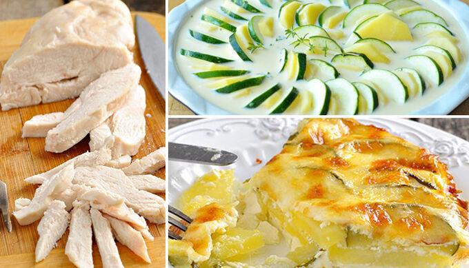 Recept Šťavnatá kuřecí prsa a zapečená cuketa s bramborami