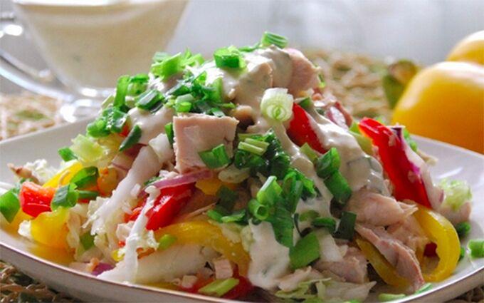 Recept Svěží salát Duha s kuřecím masem