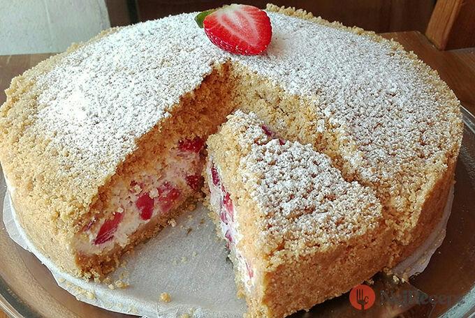 Recept Strouhaný jahodový koláč bez pečení, lepší než zmrzlina!