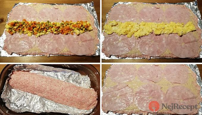 Recept Bez mouky, vajíčka a bez strouhanky - Jemná roláda z mletého masa, plněná míchanými vajíčky a Moravankou