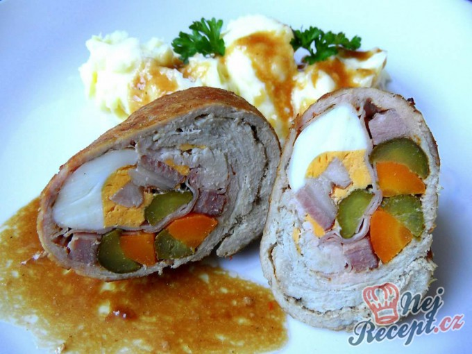 Recept Plněné vepřové závitky s bramborovou kaší