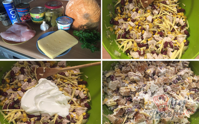 Recept Lehký salát s kuřecím masem, fazolemi a sýrem