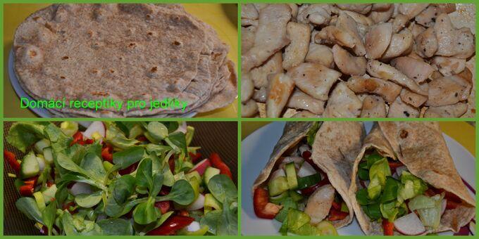 Recept Domácí tortila s kuřecím masíčkem a zeleninou