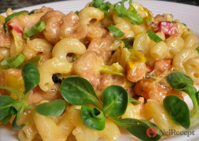 Recept Těstoviny s pórkem a kuřecím masem