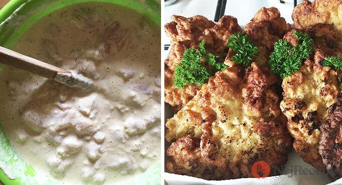 Recept Řízky líné manželky. Žádný trojobal, ale chutné těstíčko ze zakysané smetany.
