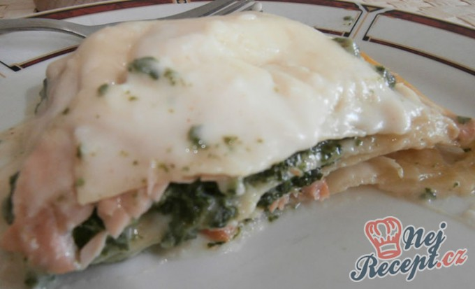 Recept Lasagne s lososem a špenátem