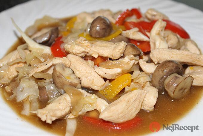 Recept Kuřecí nudličky na zelenině